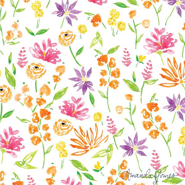 Watercolor Floral Pattern ©Amanda Gomes • delightedco.com