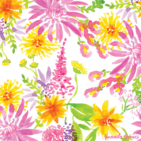 Bright Watercolor Floral Pattern ©Amanda Gomes