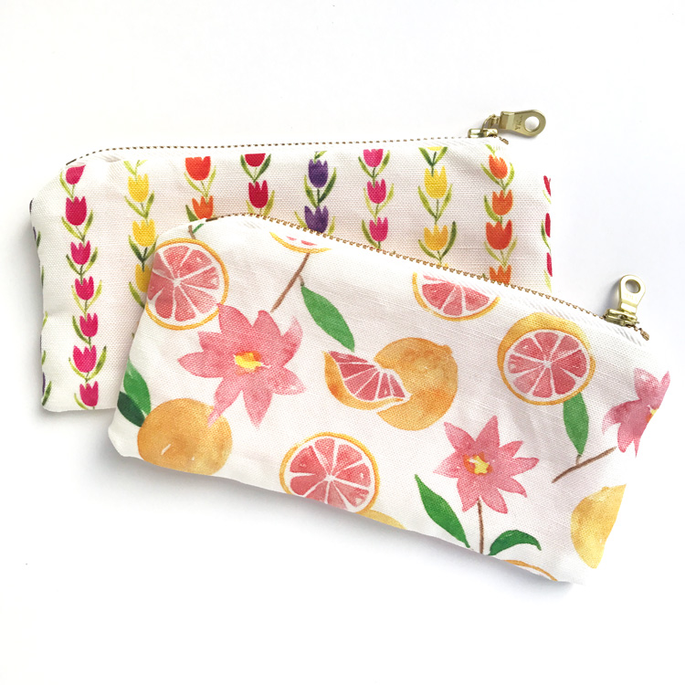 Zipper pouches designed by Amanda Gomes using her watercolor artwork. Linen/Cotton Canvas.
