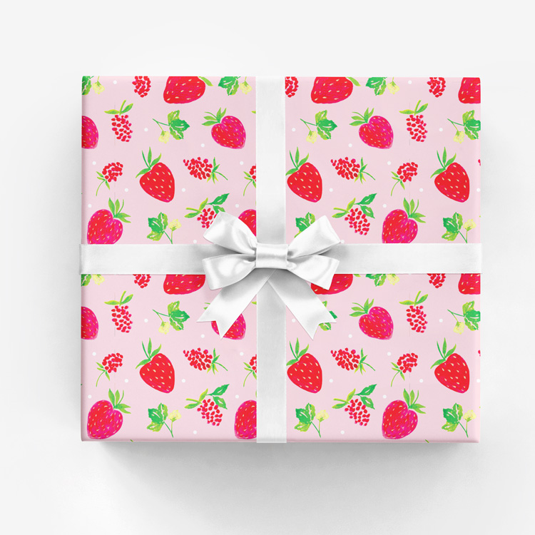 Gift wrap watercolor illustration and surface design amanda amanda gomes watercolor berries wrapping paper whiteg negle Image collections