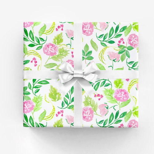 Gwyneth gift wrap pink watercolor illustration and surface design every day floral gift wrap in pink designed by amanda gomes using original watercolor sketches mightylinksfo