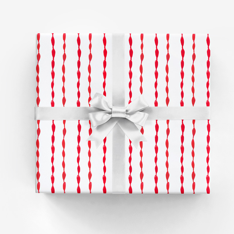 Holiday—or Everyday—Striped Watercolor Gift Wrap in Red and White by Amanda Gomes • amandagomes.com