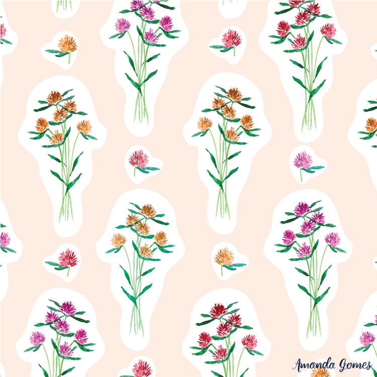 Watercolor Floral Pattern ©Amanda Gomes • surface designer + watercolor artist • amandagomes.com
