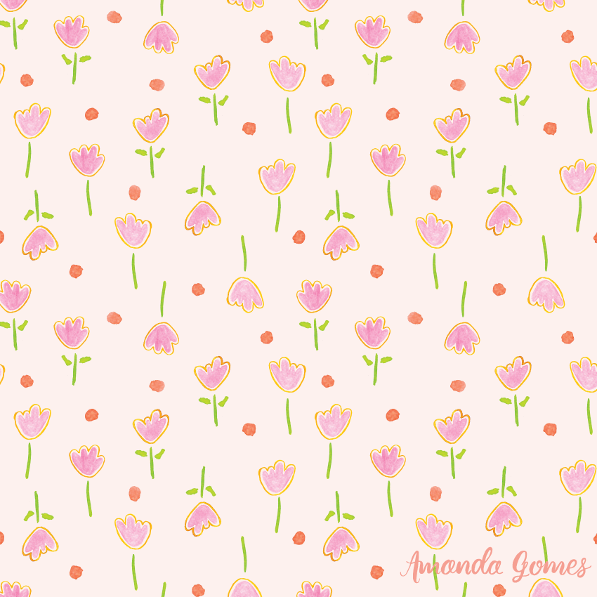 Watercolor Pink Floral Pattern ©Amanda Gomes • surface designer + watercolor artist • amandagomes.com