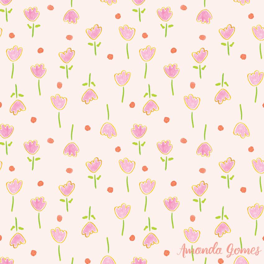 Watercolor Pink Floral Pattern ©Amanda Gomes • surface designer + watercolor artist • amandagomes.com