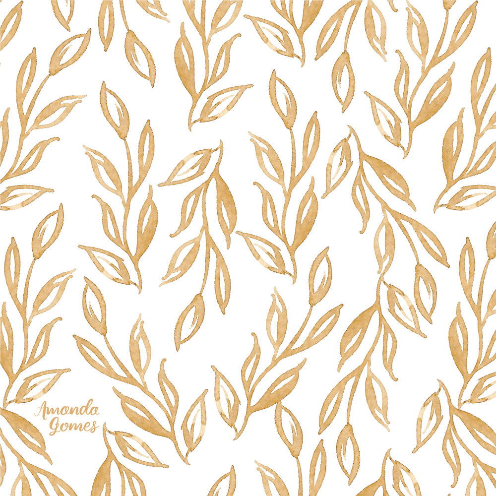 Amanda Gomes Gold Leaves Watercolor Pattern • amandagomes.com