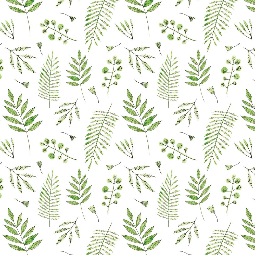 Amanda Gomes Watercolor Leaves Pattern Green and Black • amandagomes.com
