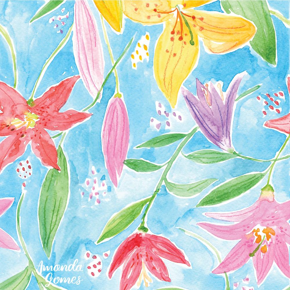 Amanda Gomes Watercolor Lilies Pattern Blue Background • amandagomes.com