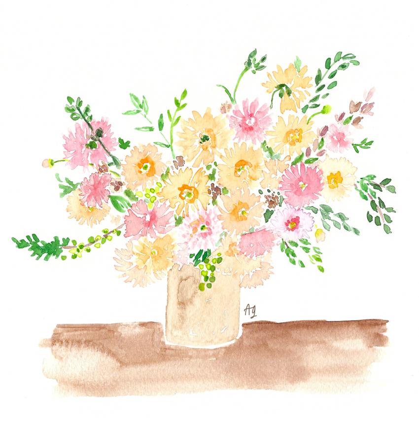 Amanda Gomes Watercolor Floral Bouquet Painting • amandagomes.com