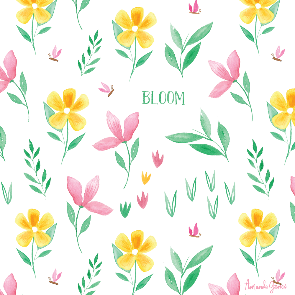 Watercolor Floral Surface Pattern Blooms Illustration • amandagomes.com