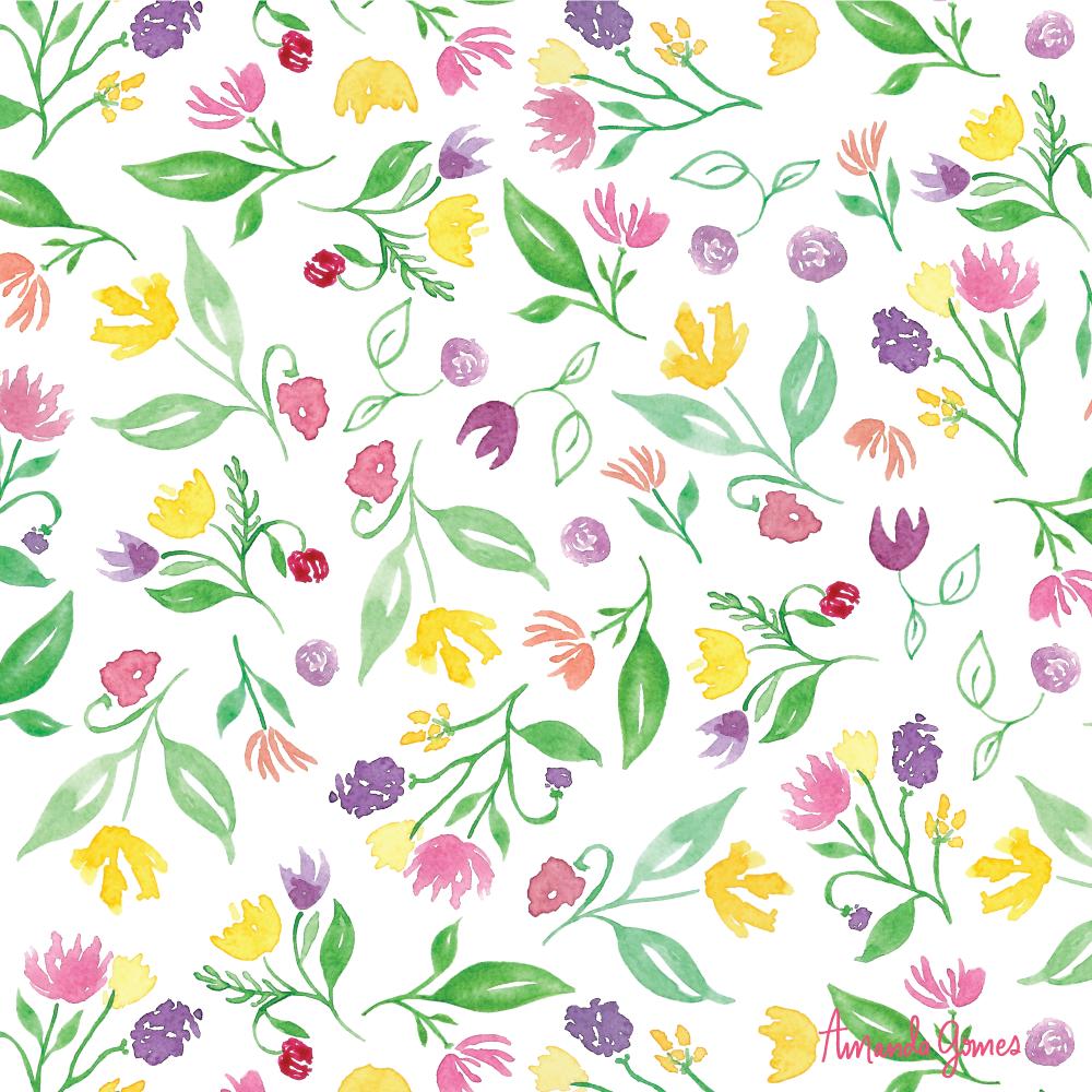 Amanda Gomes Watercolor Floral Surface Pattern Design • amandagomes.com