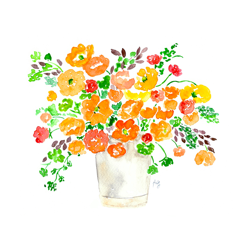 Amanda Gomes Watercolor Poppy Floral Bouquet Illustration • amandagomes.com