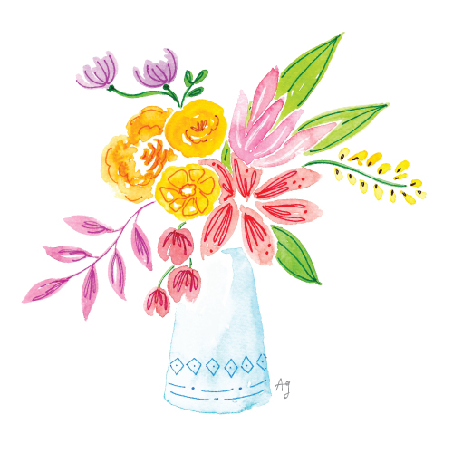 Amanda Gomes Watercolor Floral Vase Illustration • amandagomes.com