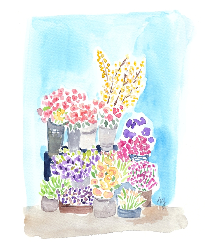 Floral Stand Watercolor Illustration ©Amanda Gomes • amandagomes.com