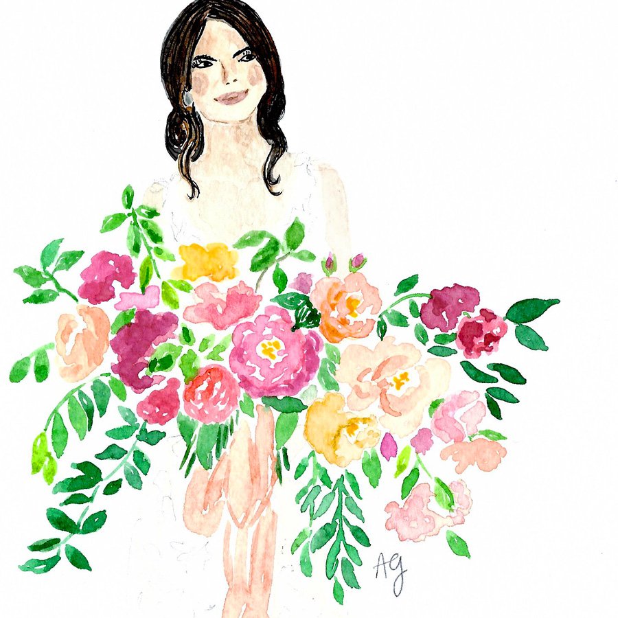 Watercolor Bouquet Arrangement Illustration by artist Amanda Gomes • amandagomes.com