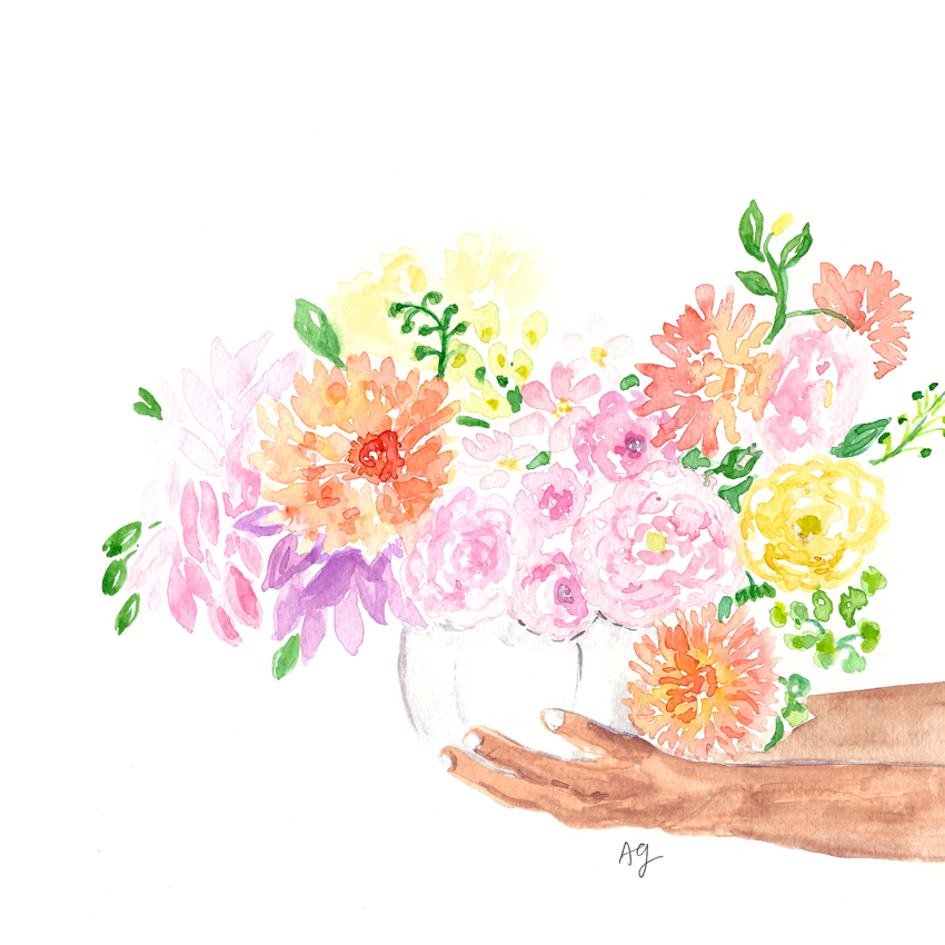 Watercolor Bouquet Arrangement Illustration by artist Amanda Gomes • Photo inspo by Fleur Studio • amandagomes.com