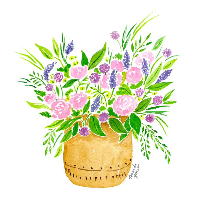 Amanda Gomes Watercolor Illustration Art • Vase with Flower Bouquet in Pink and Purple
