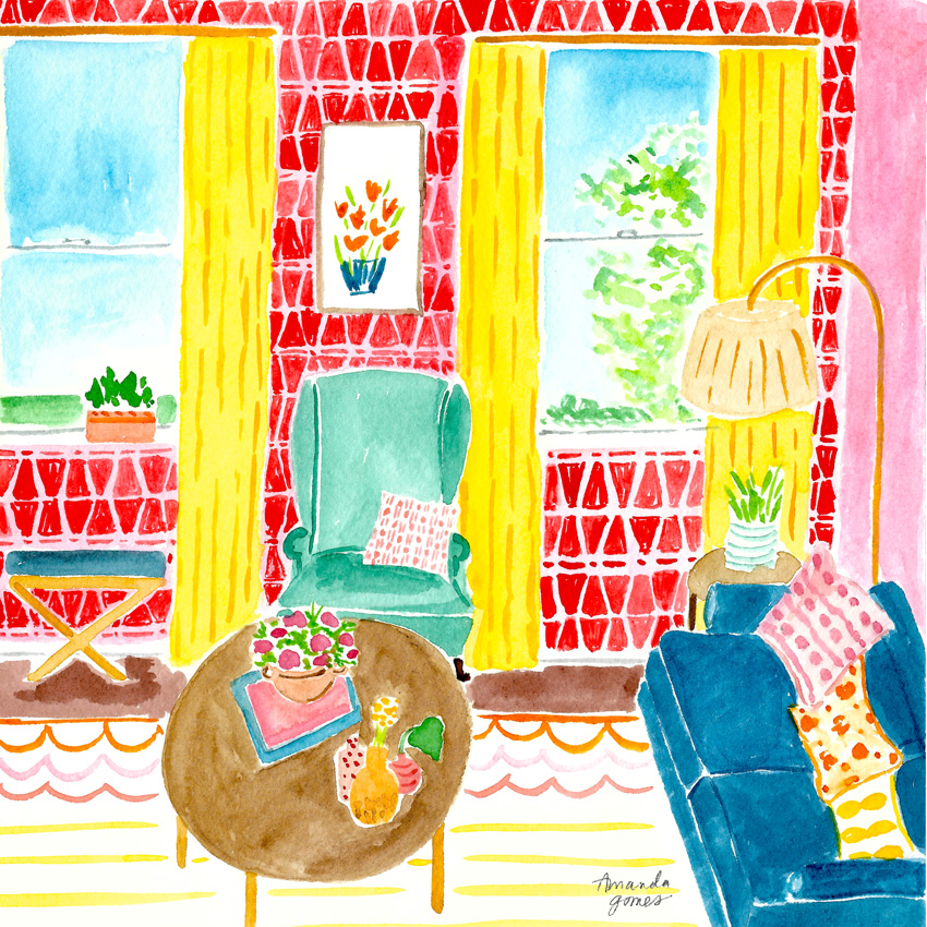 Amanda Gomes Watercolor Illustration • Interior Living Room Painting in Watercolor