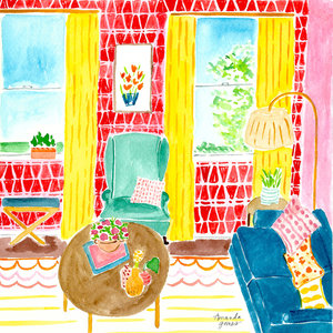 Amanda Gomes Watercolor Illustration O Interior Living Room Painting In