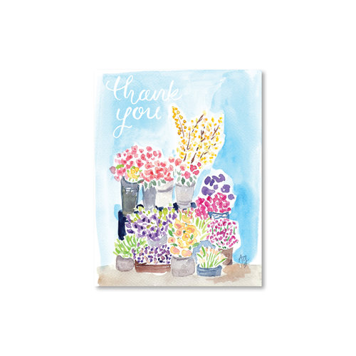 flower stand thank you card watercolor illustration and surface