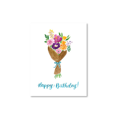 Wrapped Floral Bouquet Birthday Card Watercolor Illustration And