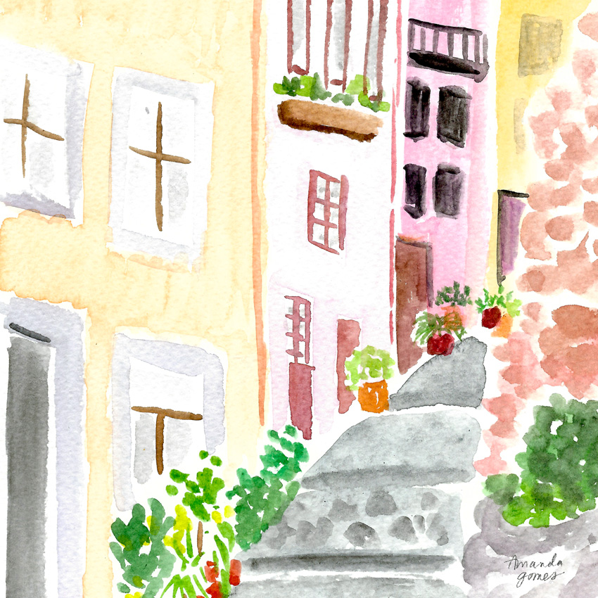 Porto Portugal • Watercolor Illustration by Amanda Gomes • amandagomes.com