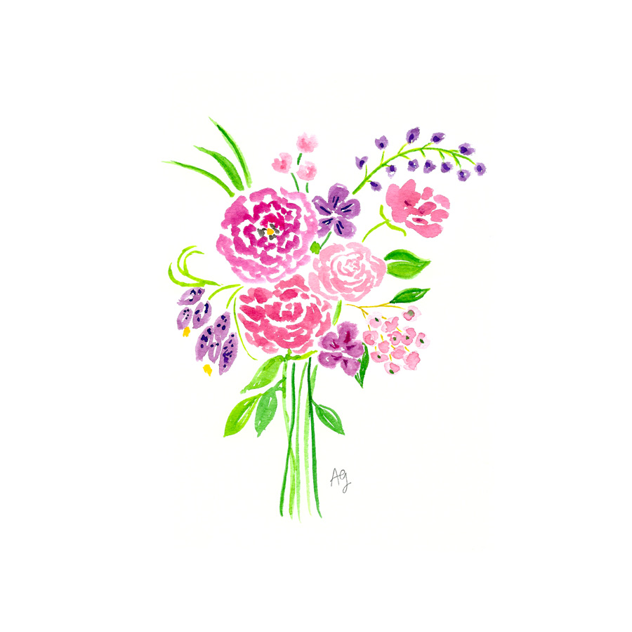 Watercolor Floral Bouquet Illustration by Amanda Gomes • amandagomes.com