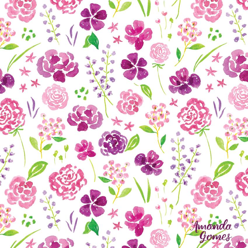 Purple Pink Watercolor Floral Pattern by Amanda Gomes • amandagomes.com