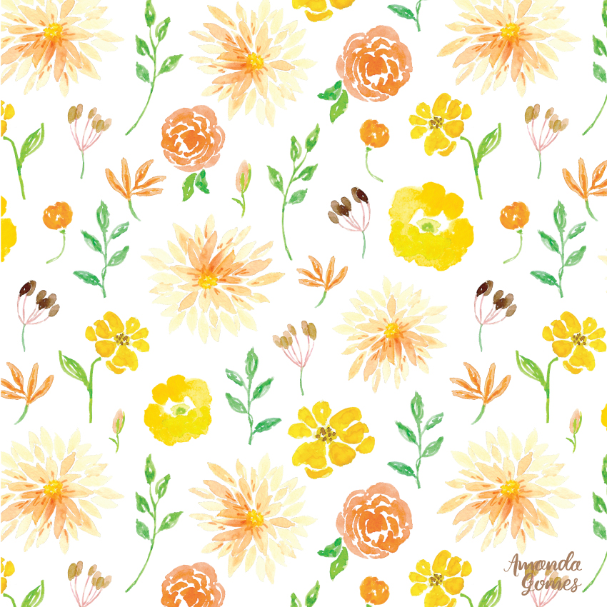 Yellow Orange Watercolor Floral Pattern Design by Amanda Gomes • amandagomes.com