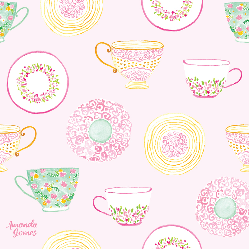 Watercolor Tea Cup and Saucer Illustrations + Pattern Design by Amanda Gomes • amandagomes.com