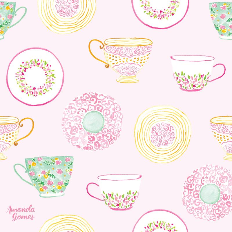 Watercolor Tea Cup and Saucer Illustrations + Pattern Design by Amanda Gomes • amandagomes.com
