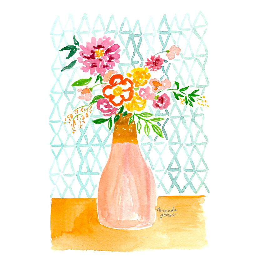 Amanda Gomes Illustration • florals in vase • amandagomes.com