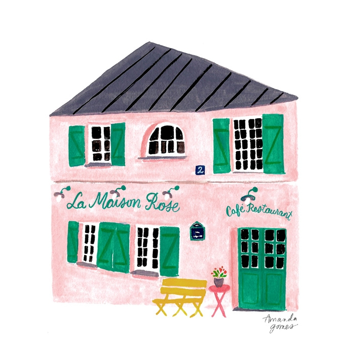 Amanda Gomes Gouache Illustration • Painting of La Maison Rose Paris • amandagomes.com