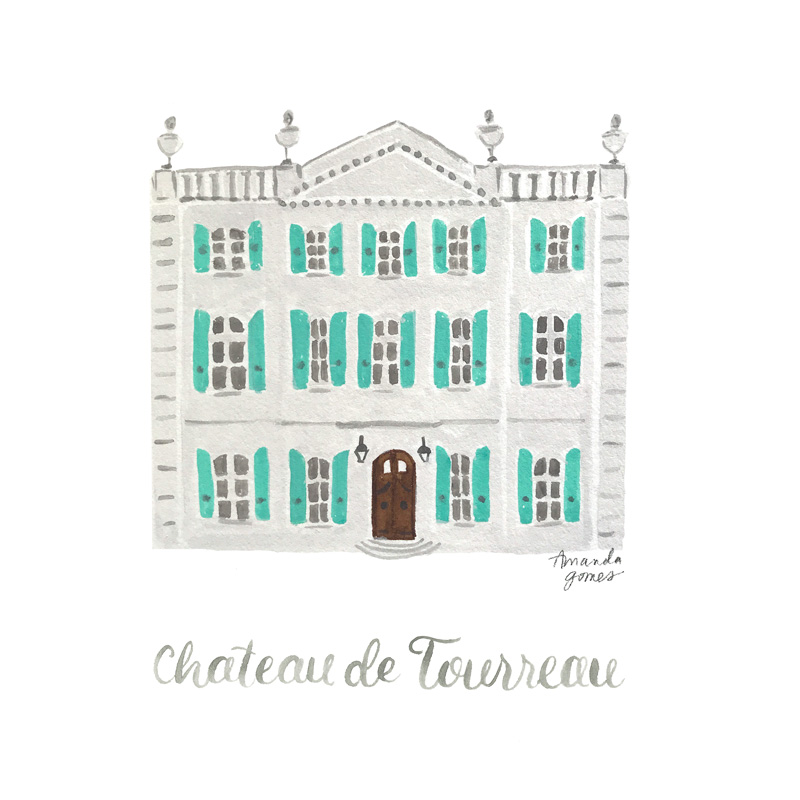 Amanda Gomes Watercolor Illustration • Chateau de Tourreau • amandagomes.com