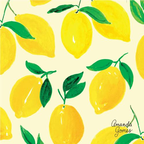 Amanda Gomes Surface Pattern Design #lemons #citrus #surfacepatterndesign #surfaceart #watercolor