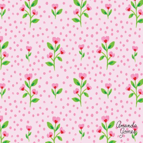 Amanda Gomes Surface Pattern Design #floralpattern #flowerillustration #surfacepatterndesign #surfaceart #watercolor #gouache