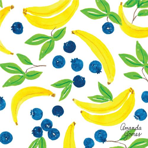 Amanda Gomes Surface Pattern Design #fruitillustration #illustration #bananaillustration #surfacepatterndesign #surfaceart #watercolor