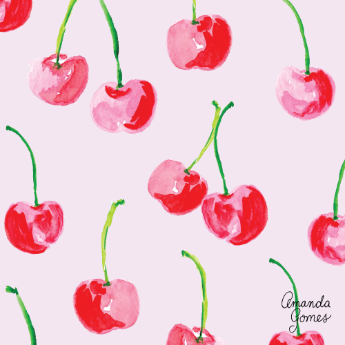 Amanda Gomes Surface Pattern Design #fruitillustration #illustration #bananaillustration #surfacepatterndesign #surfaceart #watercolor #paintedcherries #cherries
