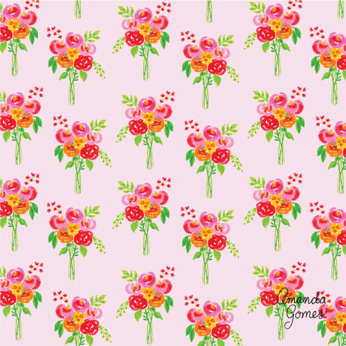 Amanda Gomes Surface Pattern Design #floralpattern #paintedbouquet #lowerillustration #surfacepatterndesign #surfaceart #gouache