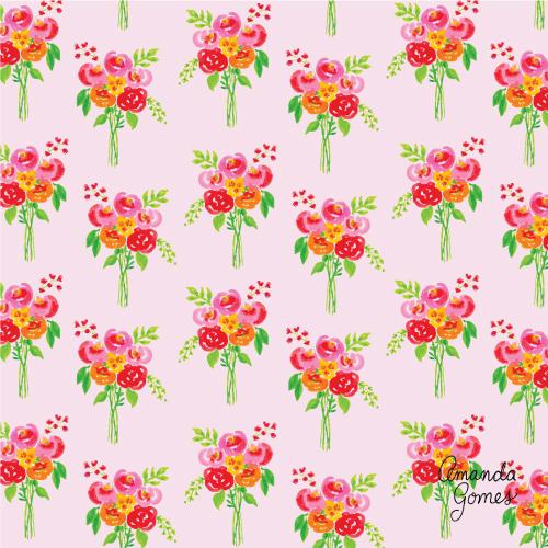 Amanda Gomes Surface Pattern Design #floralpattern #paintedbouquet #lowerillustration #surfacepatterndesign #surfaceart #gouache