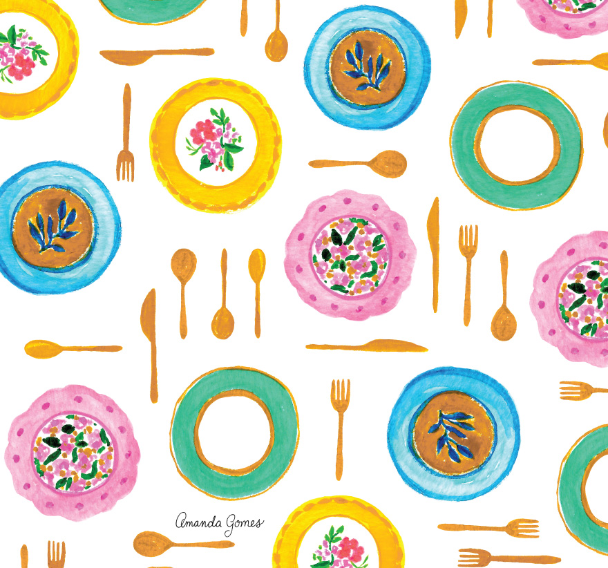 Amanda Gomes plates and utensil illustration surface pattern design #surfacepatterndesign #watercolorart #watercoloropattern