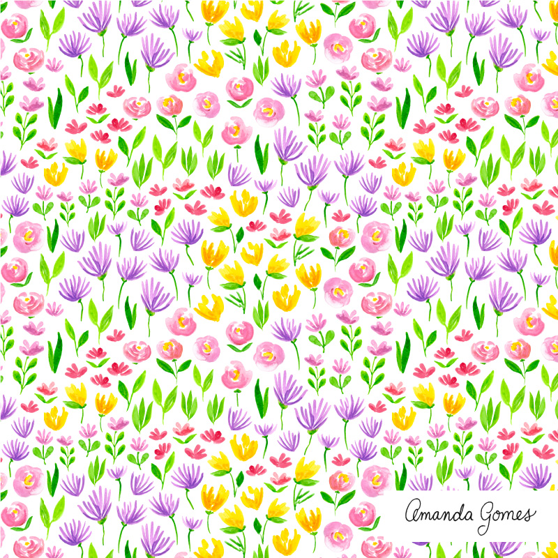 Amanda Gomes Surface Pattern Design #floralpattern #flowerillustration #surfacepatterndesign #surfaceart #watercolor