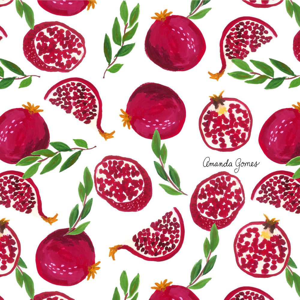 Amanda Gomes Surface Pattern Design #pomegranate #illustration #fruitpattern
