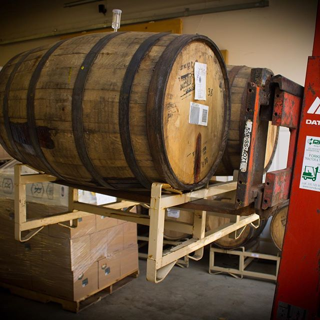 Two of five total barrels of next month's Imperial Stranger Bings getting ready to be transferred!  This special imperial release of our Stranger Bings, a cherry pie-inspired mead, weighs in at 10% ABV and was aged for six months in a blend of Heaven Hill bourbon barrels and also Siberian Night Imperial Stout barrels from our friends at @thirstydogbeer in Akron.  It's like a chocolate covered cherry pie...if such a thing exists.  This will be a tap room only release in October alongside Stranger Bings (and we've got a few stills up our sleeves coming too)! Are you ready??!!