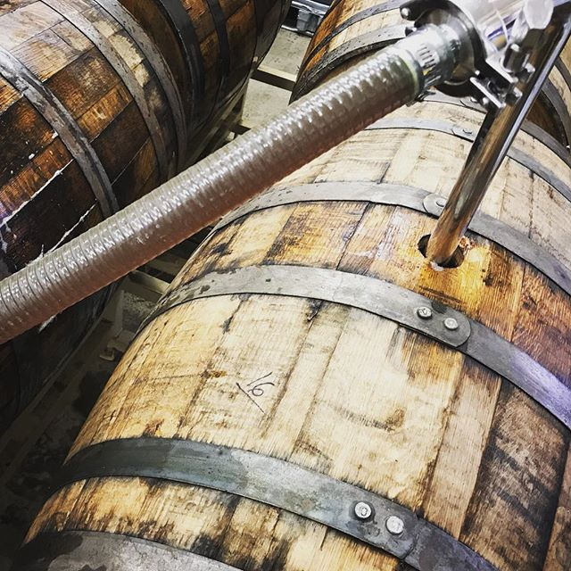 Barrel day!  Racking an Imperial Peanut Butter and Strawberry Jelly mead into some fresh Imperial Stout barrels from our friends at @jackieosbrewery in Athens!  We'll keep you updated as this one comes along! #modernmead #barrelaged
