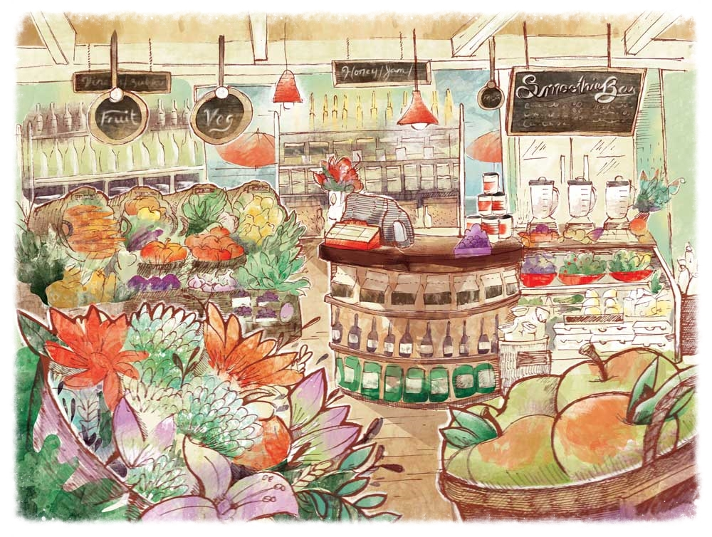 Concept rendering for a produce market.