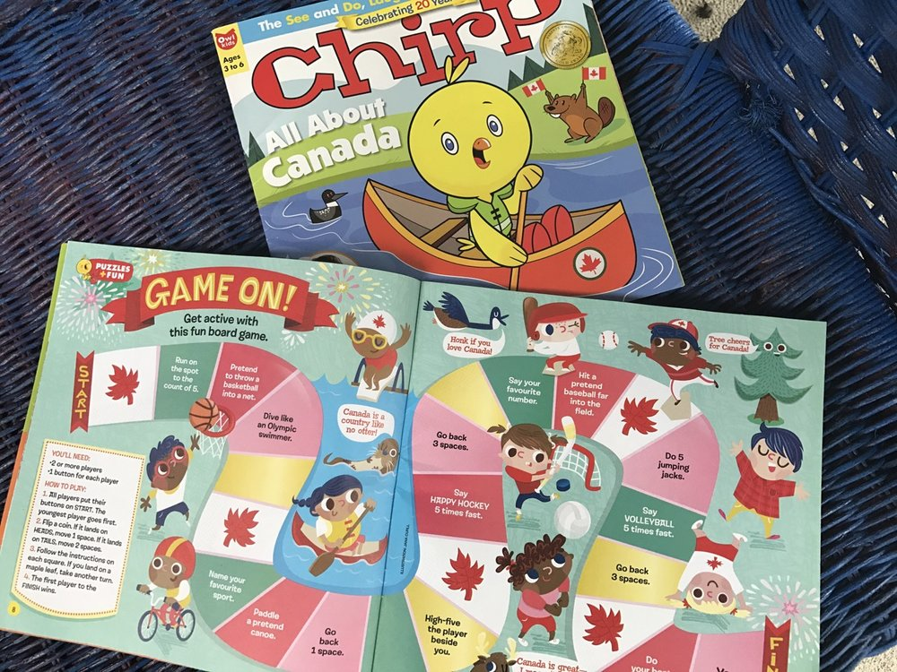 Illustration for the June 2017 Chirp (Owl Kids). The 'All About Canada' edition.