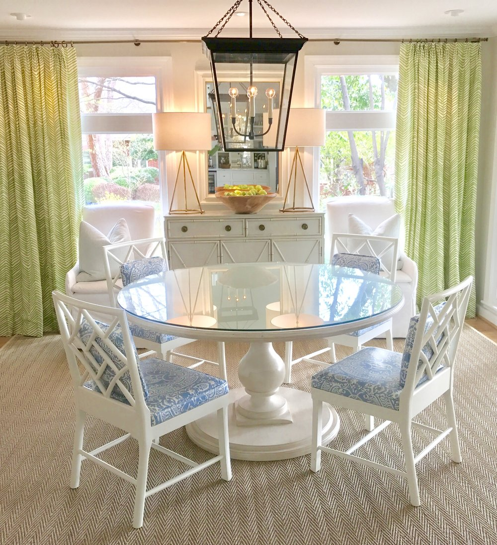 "Renowned Southern interior designer, Lucy Williams, is recognized for the bright, welcoming spaces she creates. For the dining room above, which is her own home, Williams says, ""We live on the water which inspired the color scheme for my house. Since we have a wall of windows, I wanted to bring the outdoors in. The Tritter Feefer pieces really capture the casual but elegant look that I was after.""      Our classic Baluster dining table in St Moritz finish is the centerpiece of this space."