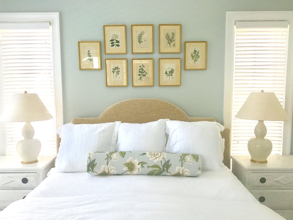 BEFORE, THE BED WAS SITUATED ON A NEIGHBORING WALL...WE MOVED IT SO ITS  MORE OF A FOCAL POINT WHEN YOU WALK IN...PLUS, A KING FIT PERFECTLY IN  BETWEEN THE ...