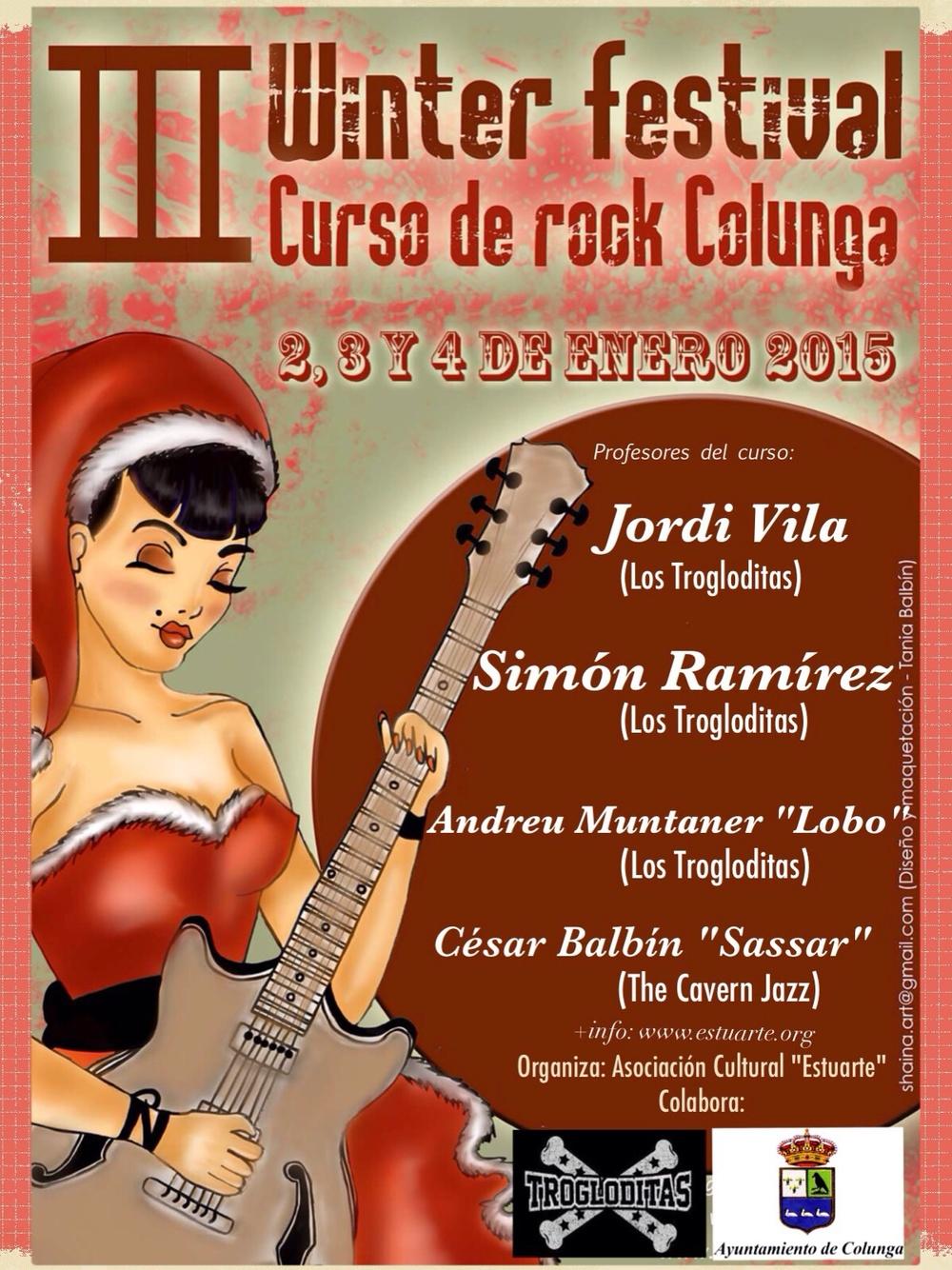 Cartel del III Curso de Rock de Colunga, también denominado III Winter Festival.